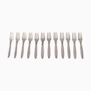Fourchettes à Pâtisserie Cactus en Argent Sterling de Georg Jensen, 1940s, Set de 12