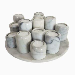 Vintage Carrara Marble Candleholders and Disk Set