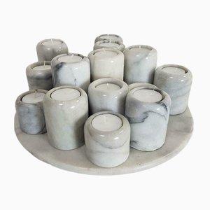 Vintage Carrara Marmor Kerzenständer und Aufbewahrungsset