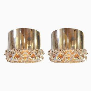 Vintage Eclectic Chrom Kristallglas Deckenlampen von Kinkeldey, 1970er, 2er Set