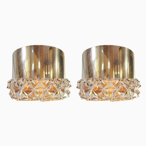 Vintage Eclectic Chrome Crystal Ceiling Lamps from Kinkeldey, 1970s, Set of 2