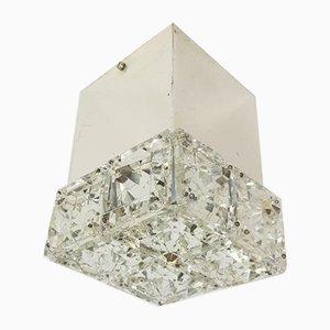 Vintage Eclectic Kinkeldey Chrome Crystal Ceiling Lamp