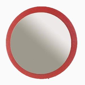 Skandinavischer Roter Vintage Holzspiegel