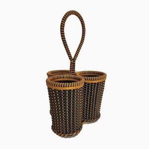 Vintage Danish Rattan Cane Bottle Holder, 1950s