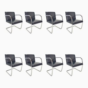 Black Leather Armchairs by Ludwig Mies van der Rohe for Knoll Inc. / Knoll International, 1980s, Set of 8