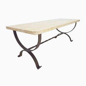 Eklektischer Vintage Tisch aus Metall & Travertin, 1980er