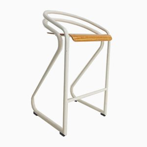 Vintage Tubular Metal and Plywood Bar Stool, 1970s