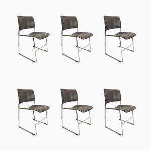 Stapelbare Vintage Metall Modell 40/4 Metall Stühle von David Rowland, 1960er, 6er Set