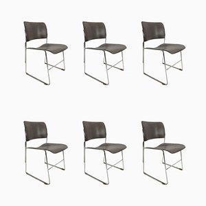Vintage Metal Chrome Model 40/4 Stacking Chairs by David Rowland, 1960s, Set of 6