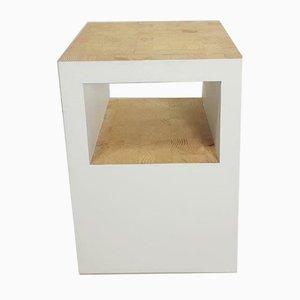 Weißer Holz Metzgerblock Beistelltisch