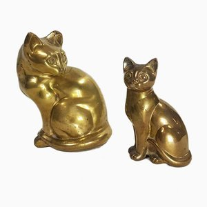 Vintage Hollywood Regency Gold Brass Cat Sculptures, 1970s, Set of 2