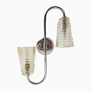 Wandlampe aus Glas & Metall & Chrom, 1950er