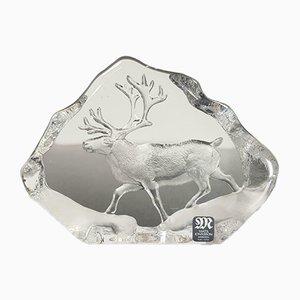 Schwedische Vintage Kristallglas Skulptur von Mats Jonasson