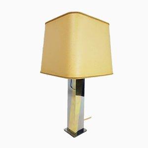 Zweifarbige Vintage Messing Tischlampe im Stil von Romeo Rega, 1980er