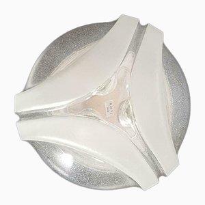 Vintage Decken- oder Wandlampe aus Metall & Eisglas von Peill & Putzler