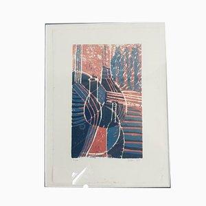 Moderner Linolschnitt mit gerahmter Flasche von Ellen Urselmann, 1990er