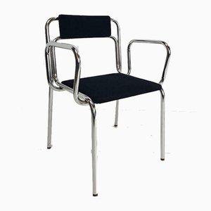 Italienischer Vintage Sessel aus Schwarzem Chrom und Rohrrahmen, 1960er