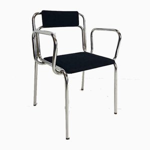 Vintage Italian Black Chrome and Tube Frame Armchair, 1960s