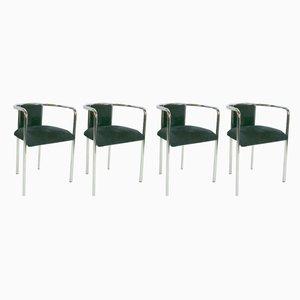 Schwarze Samt Sessel mit Rohrrahmen, 1970er, 4er Set
