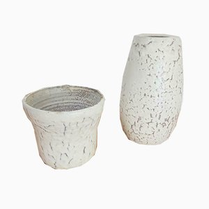 Vase Pot de Fleurs Vintage en Céramique Blanche, Pays-Bas, 1960s