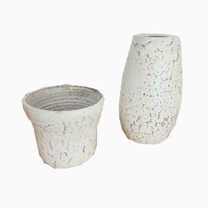 Weiße Niederländische Blumenvase aus Keramik, 1960er