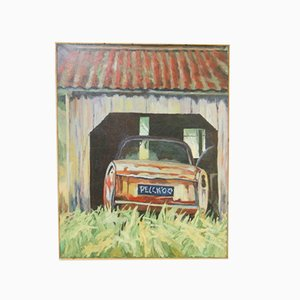 Modern Oil Canvas Painting Pelckmans Peugeot 404