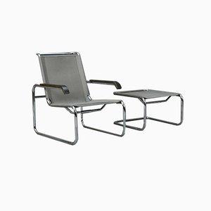 Silberner S35 Lounge Stuhl von Thonet