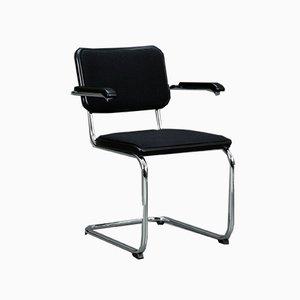 Schwarzer S64 Stuhl mit Stoffbezug von Thonet, 1990er