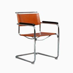 Chaise S34 Moderne en Cuir Cognac Marron de Thonet, 1990s