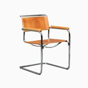 Beigefarbener Cognacfarbener S34 Stuhl aus Leder von Thonet, 1990er