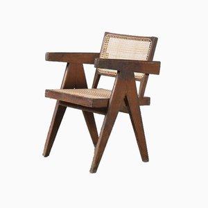 Chaise de Bureau en Jonc par Pierre Jeanneret pour Chandigarh, Inde, 1950s