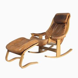 Rocking Chair en Cuir, 1980s