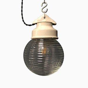 Glaskugel Lampe mit Porzellan Kopf, 1950er