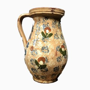 Antique Pottery Can with Floral Motif