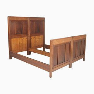 Antique Art Nouveau Hand Carved Cherrywood and Walnut Double Twin Bed, 1920s, Set of 2