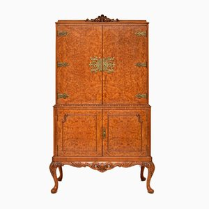 Antique Queen Anne Style Burr Walnut Cocktail Cabinet, 1930s