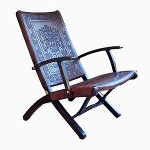 Leder und Holz Klappstuhl von Angel I. Pazmino für Muebles de Estilo, 1960er