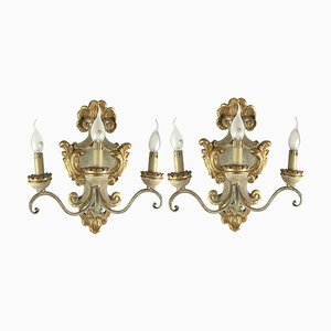 Ivory and Gold Carved Wood Sconces, 1990s, Set of 2