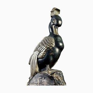 Canard Mandarin Art Deco en Bronze avec Sculpture Touffe par Marie Louise Simard, 1920s