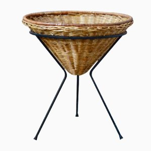 Vintage Metal and Wicker Standing Basket, 1950s