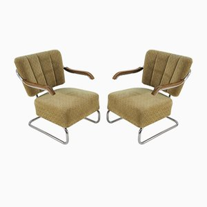 Bauhaus Chrome Armchairs by Robert Slezak for Hynek Gottwald, 1930s, Set of 2