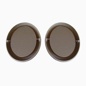 Weiße Ovale Badezimmerspiegel, 1970er, 2er Set