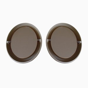 White Oval Bathroom Mirrors, 1970s, Set of 2