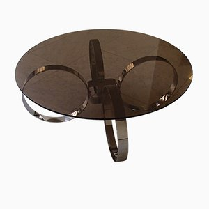 Round Glass Coffee Table, 1970s