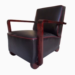 Art Deco Black Brown Leather Armchair, 1930s