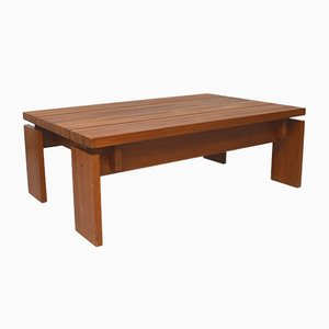 Brutalist Solid Teak Coffee Table, 1980s