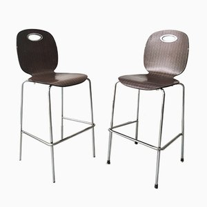 Chrome Plated and Ebony Veneer Stacking Stools by Luca Trazzi for Plank, Set of 2