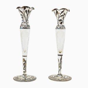 Antike Glas und Silberblatt Kerzenhalter, 1900er, 2er Set
