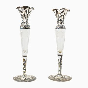 Antique Glass and Silver Leaf Candleholders, 1900s, Set of 2