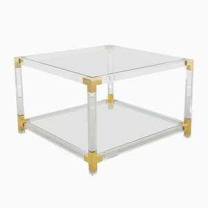 Vintage Methacrylate and Brass Side Table, 1970s